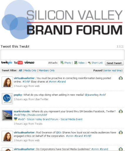 #SVBF Silicon Valley Brand Forum live tweet stream